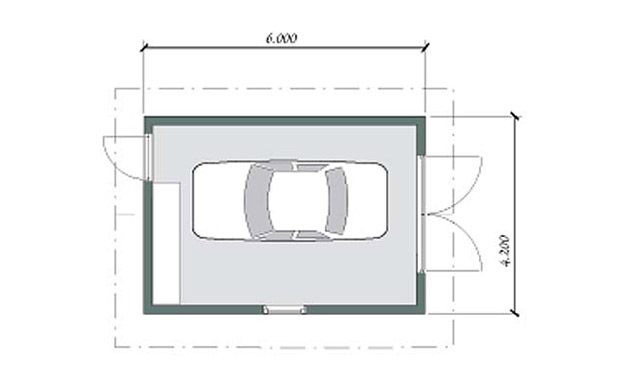 ritning på garage